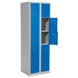 Elevskabe med 10 rum, blå, bredere