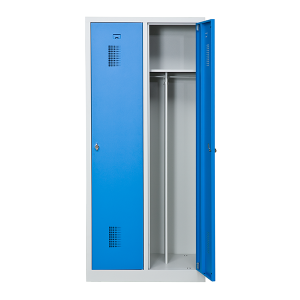 omklædningsskab, 2 døre, blå, bredere