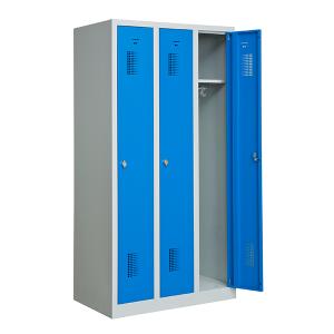 omklædningsskab, 3 døre, blå