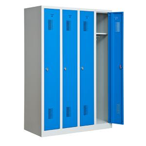 omklædningsskab, 4 døre, blå